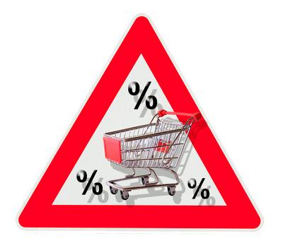 Rabatt mit Einkaufswagen